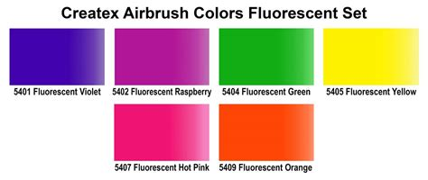 fluorescent l color chart find createx airbrush starter paint sets by createx colors