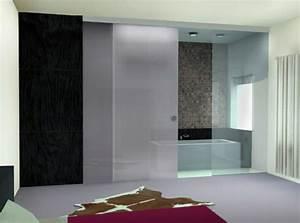 la porte coulissante pour la salle de bain archzinefr With porte de douche coulissante avec couleur meuble salle de bain