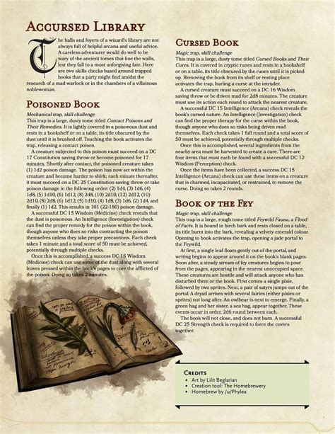 homebrew dungeons dragons dnd 5e library rpg skill accursed books based pathfinder dragon challenges monsters dungeon cool sheet tabletop imgur