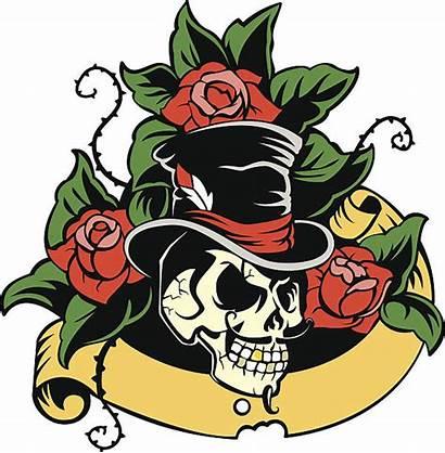 Skull Tattoo Clip Hat Vector Roses Gentleman