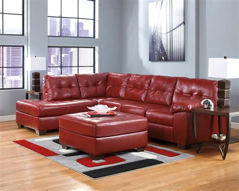 red sectional sofa ashley furniture soho contemporary red tufted bonded leather sectional sofa
