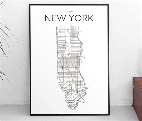 downloadable art print printable poster city map  york manhattan minimal black  white