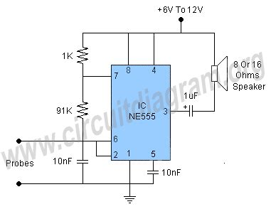 water level alarm using 555 ic