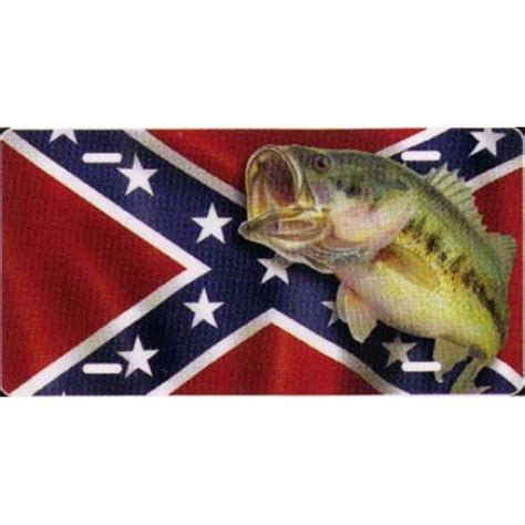 Cobia Boats License Plate by Largemouth Bass On Rebel Flag Background Novelty License