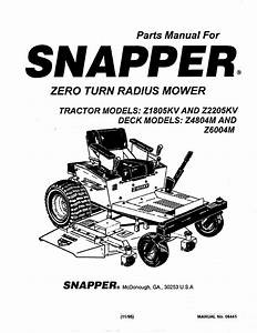 Snapper Lawn Mower Z2205kv User Guide