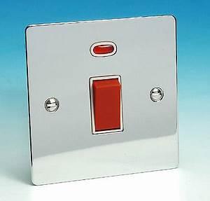 45 Amp DP Switch Sq Neon Chrome