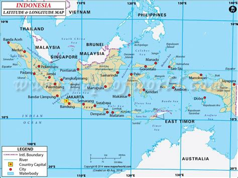 indonesia latitude  longitude map indonesia