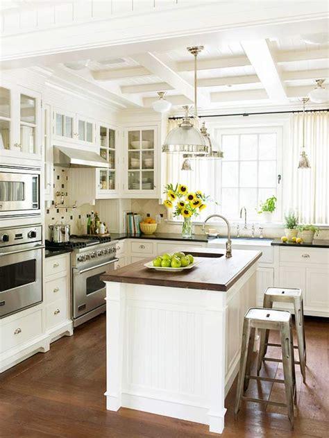 cafe curtains kitchen cottage kitchen bhg