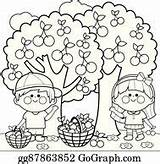 Picking Cherries Cherry Tree Fruit Under Clip Clipart Coloring Vector Harvesting Apples Children Drawing Illustration Royalty Gograph Trees Apple Picker sketch template