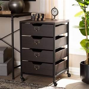 Dark, Wood, Rolling, Drawer, Storage, Cabinet