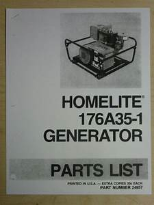 Homelite Generator Parts List Manual 176a35