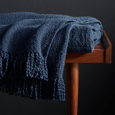 Styles Blue Fringe Throw Blanket + Reviews | Crate and Barrel