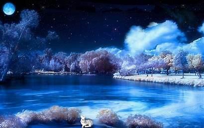Winter Night Scenes Desktop Scene Wallpapers Snowy