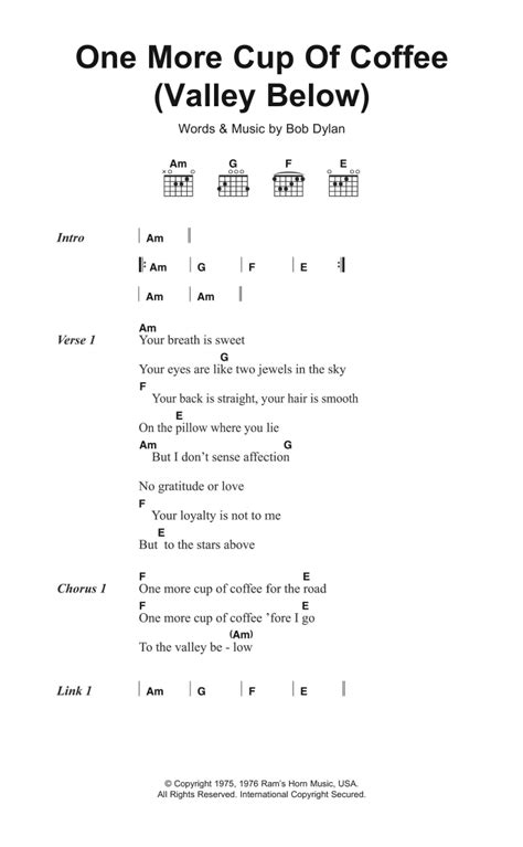 One More Cup Of Coffee (Valley Below) by Bob Dylan   Guitar Chords/Lyrics   Guitar Instructor