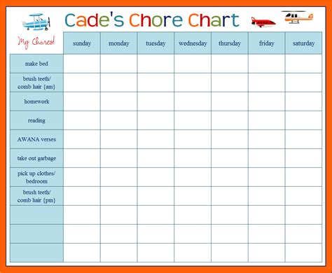 Free Chore Chart Template by Monthly Chore Chart Template Hunecompany