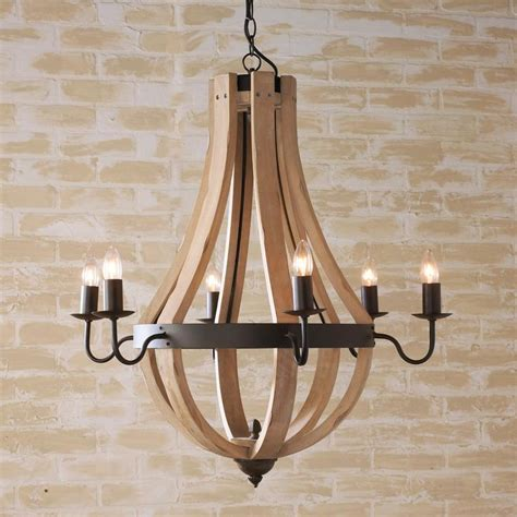 wooden wine barrel stave chandelier available in 5 colors