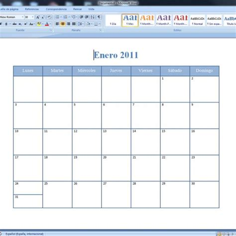 calendario mensual word