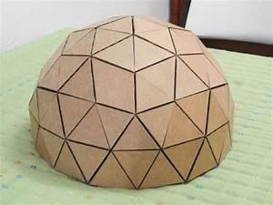 How to make a geodesic dome39s scale model with cardboard for Geodesic dome template