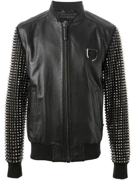 philipp plein stop bomber jacket  black  men lyst