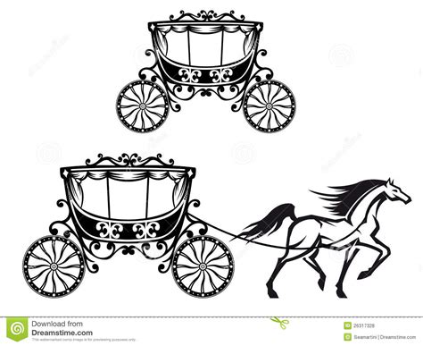 Horse with old carriage stock vector. Image of europe   26317328