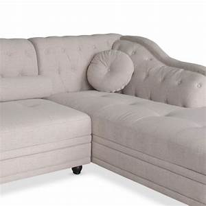 canape chesterfield d39angle en tissu beige pas cher With canapé beige angle