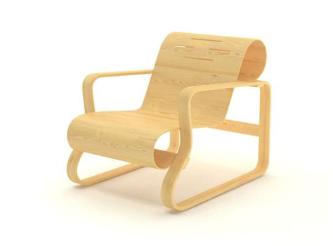Free Contemporary Wooden Armchair Free 3d Model .max .obj