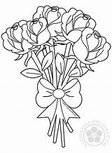 Bouquet Roses Flower Coloring Flowers Pages Rose Drawing Adult Printable Drawings Simple Colouring Sheets Templates Adults Butterfly Valentine Tattoo Outline sketch template
