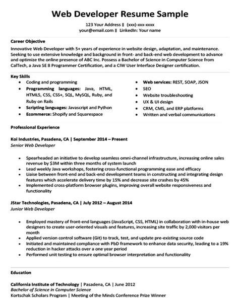 web developer resume sle writing tips resume companion