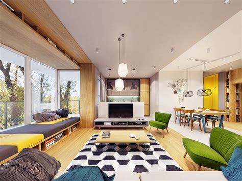 funky modern interior  natural accents geometric decor