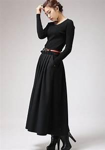 robe hiver pas cher manches longues noire la robe longue With robe manche longue hiver pas cher