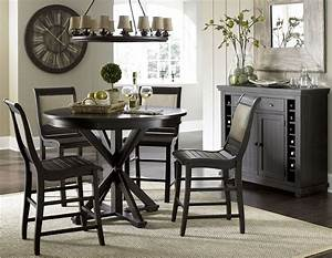 Willow Distressed Black Round Counter Dining Room Set