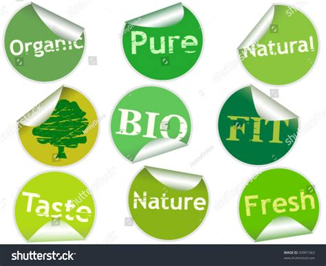 Set Of Nine Sticky Labels With Words Pure, Organic, Nature, Natural, Bio, Fit, Fresh And Taste