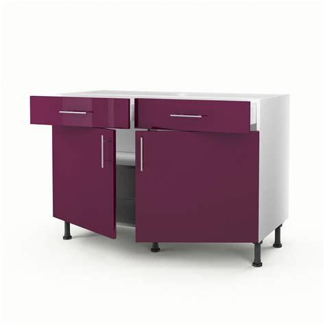 meuble cuisine avec tiroir meuble de cuisine bas violet 2 portes 2 tiroirs h 70