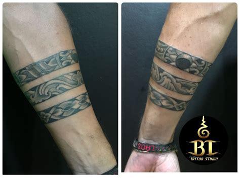 maori tattoo arm brand  bamboo tattoohand poke