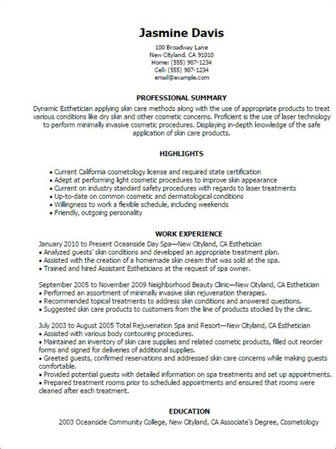 resume for licensed esthetician professional esthetician templates to showcase your talent myperfectresume