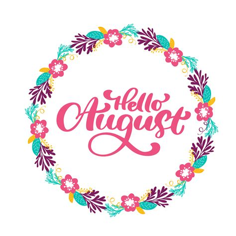 Hello August lettering print vector text and wreath with ...