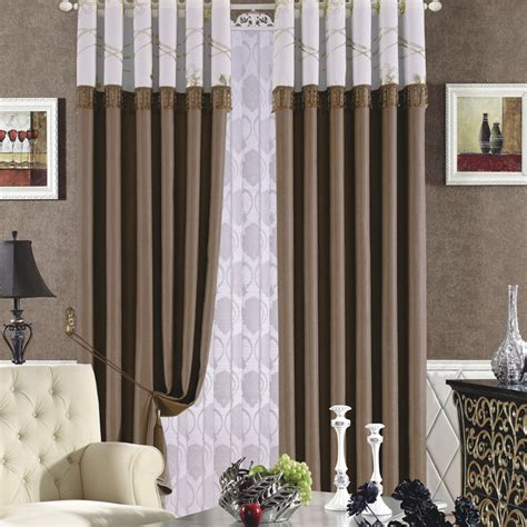 brown color european window curtains design