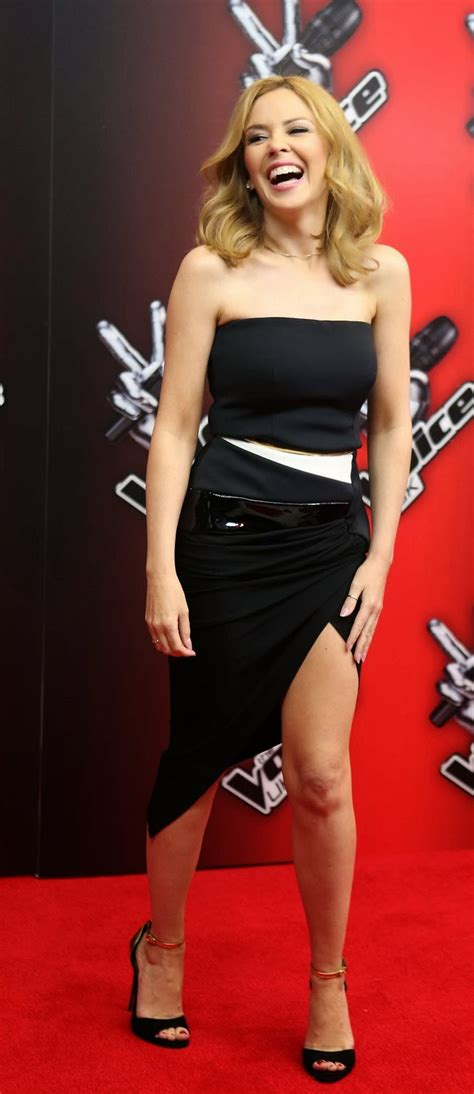 Kylie Minogue in a strapless dress at The Voice UK launch ...