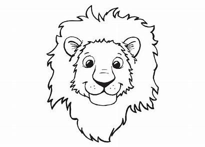 Lion Coloring Pages Cartoon Face Template Head