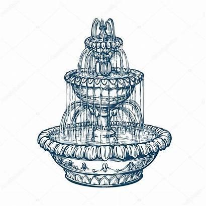 Fountain Sketch Illustration Outdoor Marble Vector Depositphotos