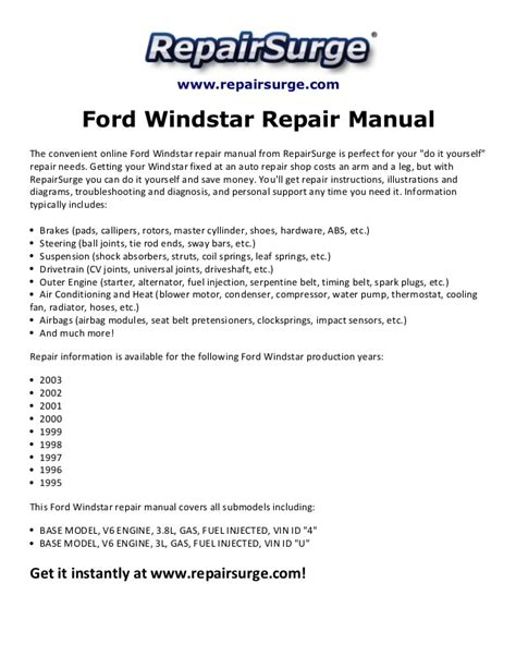 online car repair manuals free 2003 ford windstar parental controls ford windstar repair manual 1995 2003