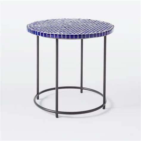 mosaic tiled side table blue top metal base