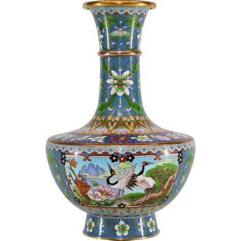 vintage chinese cloisonne enameled vase  tolw  ruby lane