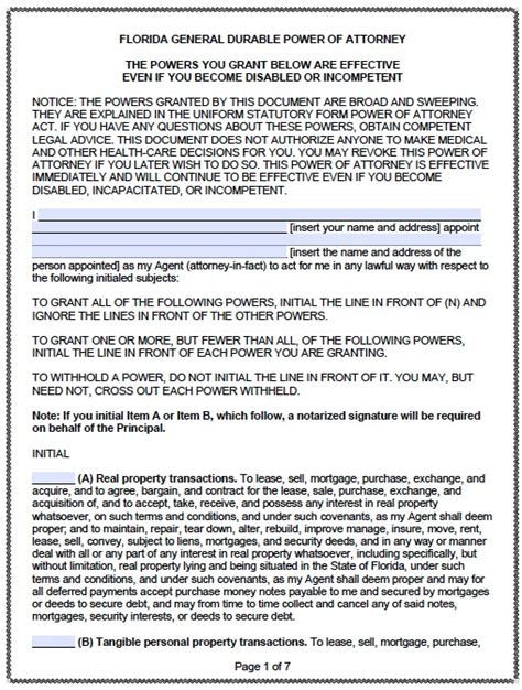 durable power of attorney form for california 5 durable power of attorney form templates download