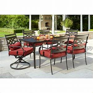 hampton bay middletown 7 piece patio dining set with chili With home depot high patio furniture