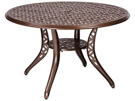 outdoor dining table with umbrella hole woodard casa cast aluminum 48 round dining table with