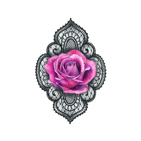 Lace Rose Tattoo Icon