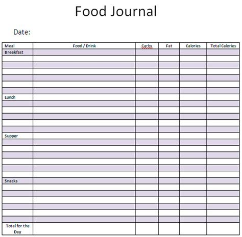 free food journal template weekly food diary template new calendar template site