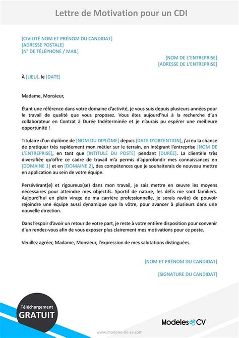 foto de Lettre De Motivation Interim Vers Cdi Soalan as