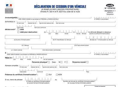 documents pour la vente d un véhicule certificat de cession cerfa 13754 gratuit pour la vente d un v 233 hicule